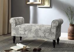 Linon Lillian Rolled Arm Upholstered Bench Bedroom Seating L