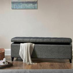 Luxury Shandra Charcoal Grey Tufted Top Storage Bench with R
