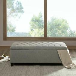 Luxury Shandra Grey Tufted Top Storage Bench with Rich Woode