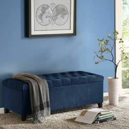 Luxury Shandra Navy Blue Tufted Top Storage Bench with Rich