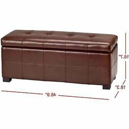 Maiden Tufted Cordovan Bicast Leather Storage Bench