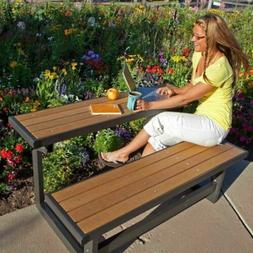 Metal and Wood Park Style Bench for Outdoor Patio Lawn Garde