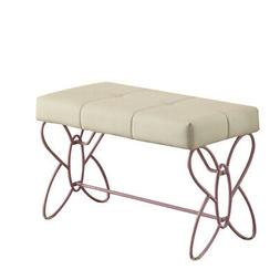 Metal Armless Bench with Butterfly Design, White and Purple