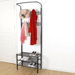 Metal Entryway 18 Hooks Coat Rack with 3-Tier Shoe Rack Benc