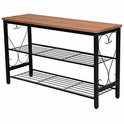 Metal Storage Benches Shoe With Seating, 2-Tier Rack For Ent