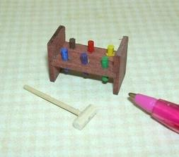 "Miniature ""Sir Thomas Thumb"" Peg Bench Toy w/Wooden Hammer:"