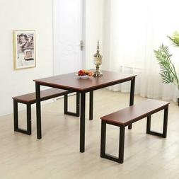 Modern Kitchen Dining Set Furniture Table Bench Room Black &