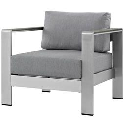 Modern Outdoor Patio Seating Chair - Silver Aluminum Armchai