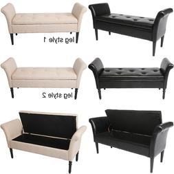 Modern Storage Bench w/ Arms Button Tufted Footstool Ottoman