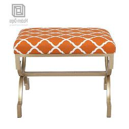Modern Style Upholstered Fabric Ottoman Bench Footstool Long