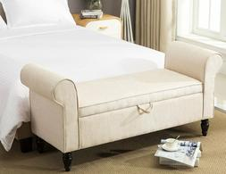 Modern Upholstered Fabric Storage Bench with Arms Ottomans F