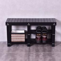 Mudroom Bench Entry Way Shoe Organize Rack Storage 2 Shelves