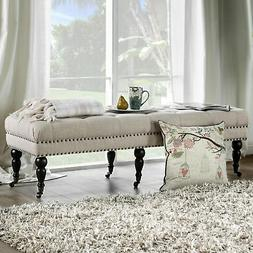 Furniture of America Nass Contemporary Ivory Linen Tufted Iv
