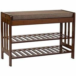 Natural Bamboo Shoe Rack Entryway Storage Bench with Cushion