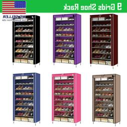 NEW 10 Tier Shoe Rack Cabinet 30 Pairs with Cover Wall Bench
