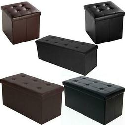 New Faux Leather Storage Footstool Sofa Ottoman Bench Foldin