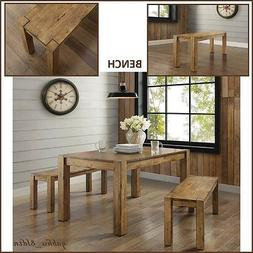 New Rustic Solid Wood Dining Table Bench Block Leg Farm Hous