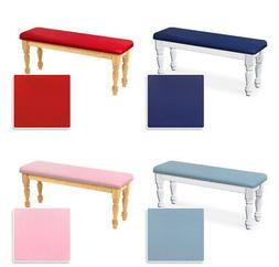 NEW WHITE OR NATURAL FINISH WOOD BENCH WITH A COLORED VINYL