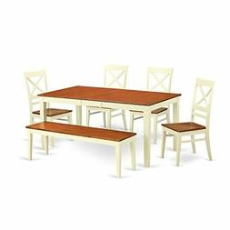 East West Furniture NIQU6-WHI-W 6 Piece Table and 4 Chairs P