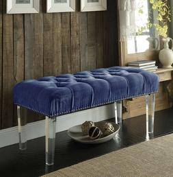 Iconic Home Odette Modern Button Tufted Blue Velvet Acrylic
