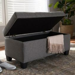 Ottoman Storage Bench Entryway Bedroom Upholstered Contempor