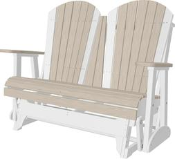 Outdoor 4 Foot Poly Adirondack Porch Glider Bench *NATURAL W