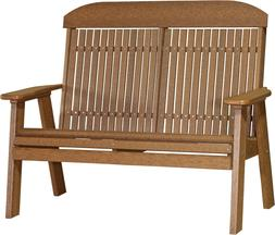 Outdoor 4' High Back Bench - Wood Grain Poly Lumber - Recycl