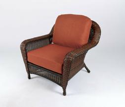 Outdoor Brown Wicker Chair with Cushions