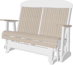 Outdoor Highback Poly Glider Bench *NATURAL WOOD GRAIN LOOK*