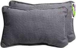 Pillow Perfect Outdoor/Indoor Rave Graphite Tufted Bench/Swi
