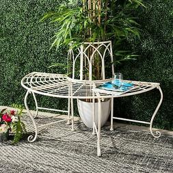 Safavieh Outdoor Living Abia White Wrought Iron Tree Bench A