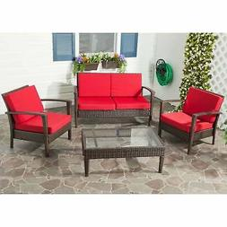 Safavieh Outdoor Living Brown PE Wicker Red Cushion Glass Br