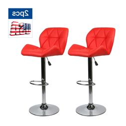 Set of 2 Bar Stools Countertop Height Adjustable Leather Swi