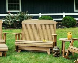 Outdoor Poly 5 Foot Highback Glider Bench *NATURAL WOOD LOOK
