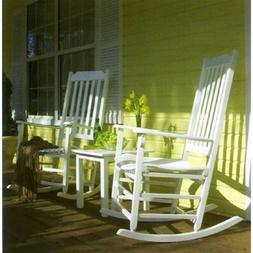 Outdoor Rocking Chair Set of 2 + Side Table, Eucalyptus Amer