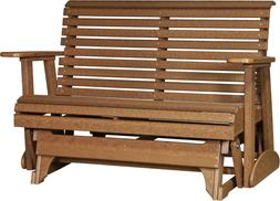 Outdoor Rollback Poly Porch Glider Bench *NATURAL WOOD LOOK*