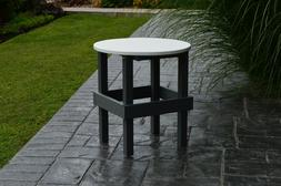 Outdoor Round Side Table w/ White Top - Multiple Poly Colors