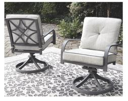 Outdoor Swivel Lounge Chairs Set of 2 Grey Patio Furniture S