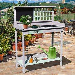 Painted Wooden Garden Plant Table Potting Bench Workstation