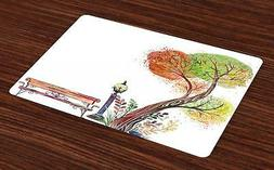 Park Bench Placemats Set of 4 Ambesonne Washable Fabric Plac