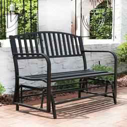Patio Garden Glider Bench Double 2 Person Swing Chair Steel