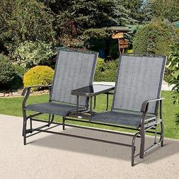 Outsunny 2 Seater Patio Glider Rocking Chair Metal Swing Ben
