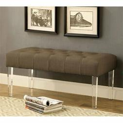 Furniture of America Paz Acrylic Bench in Brown