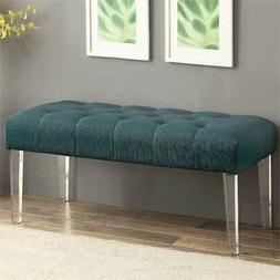 Furniture of America Paz Acrylic Bench in Teal