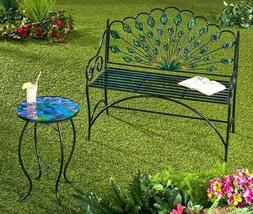 Peacock Metal Bench Accent Table Metal and glass Outdoor