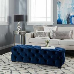Piper Tufted Velvet Fabric Rectangle Ottoman Bench by  Large