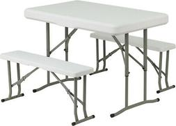 Flash Furniture Plastic Folding Table and Bench Set
