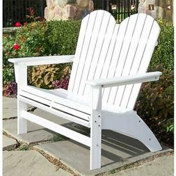 Portside Double Adirondack Bench by POLYWOOD, Patio Garden C