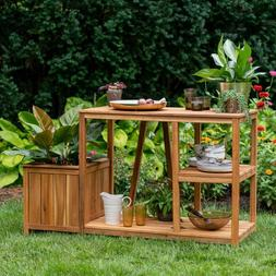 Potting Bench with Side Planter Work Table Storage Gardening