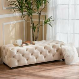 Provence Tufted Velvet Fabric Rectangle Ottoman Bench